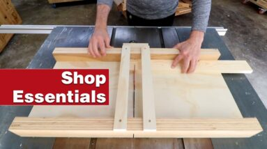 How to make a simple table saw crosscut sled. Essential woodworking shop project.